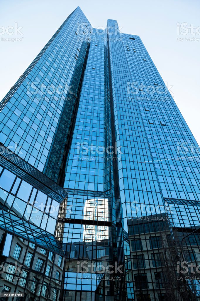 Blue Glass Office Building, Low Angle View, Frankfurt, Germany royalty-free stock photo