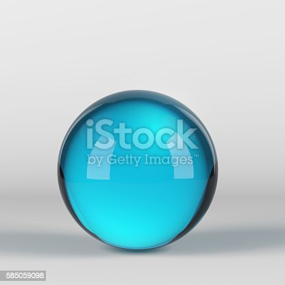 istock Blue glass sphere on white 585059098