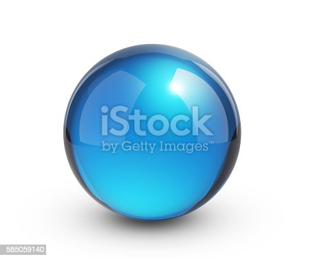 istock Blue glass sphere on white 585059140