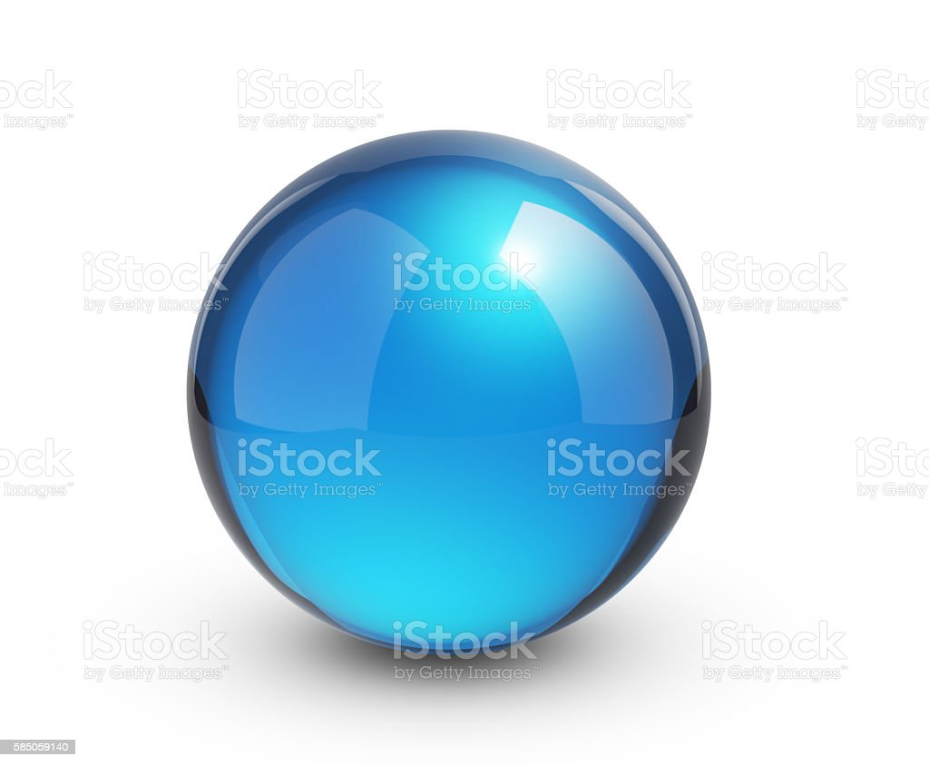 Blue glass sphere on white stock photo