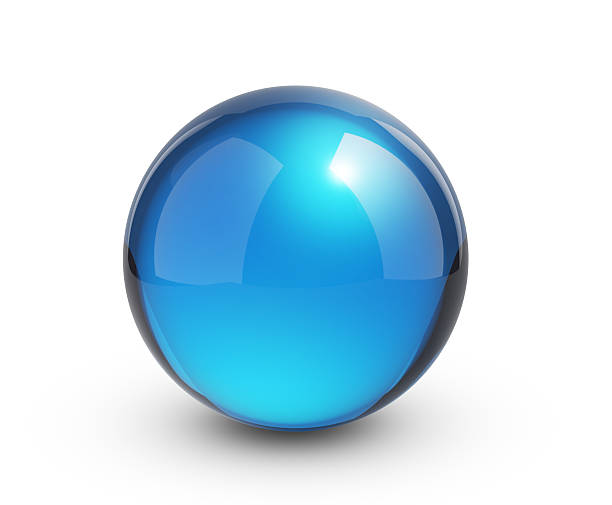 Blue glass sphere on white ストックフォト