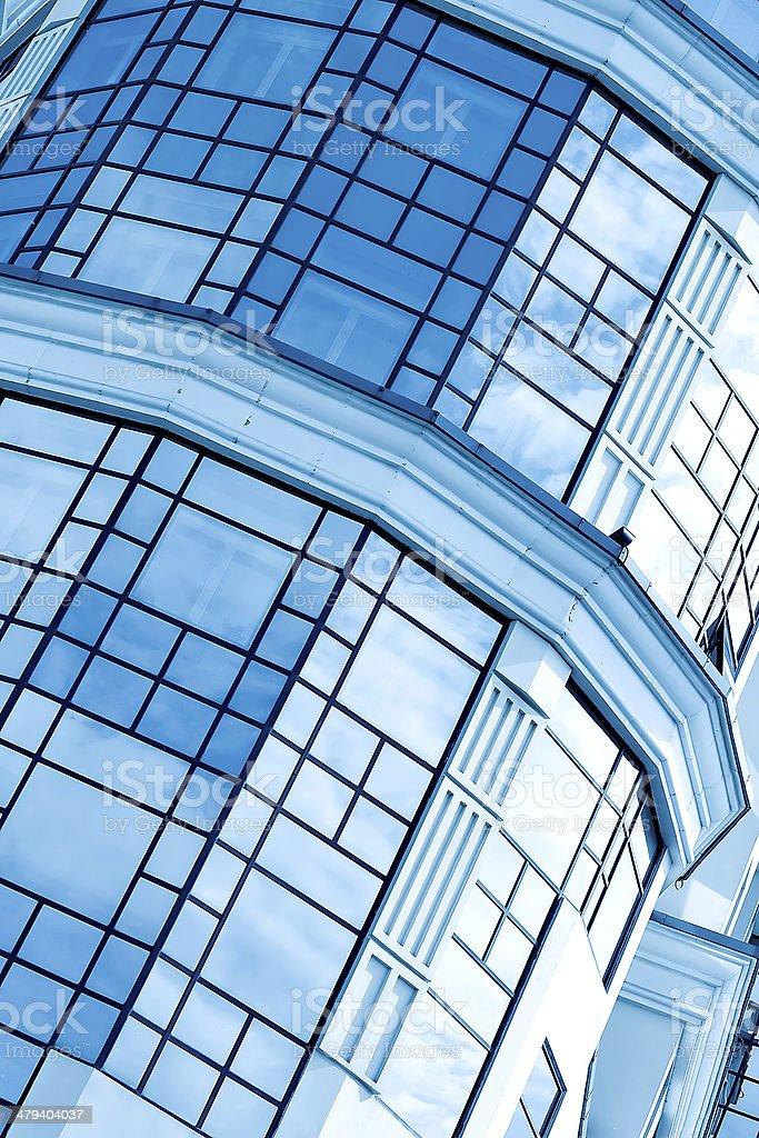 Parede transparente de vidro azul da casa moderna bulding - foto de acervo