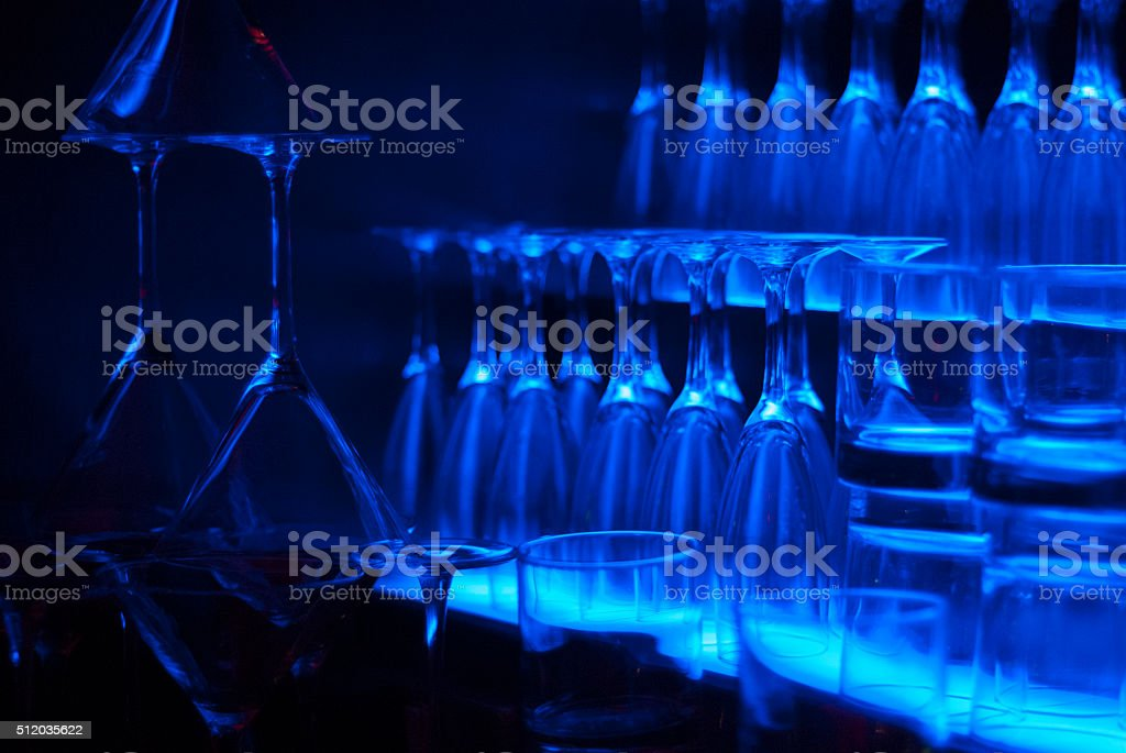 Blue glasses in at a bar stock photo