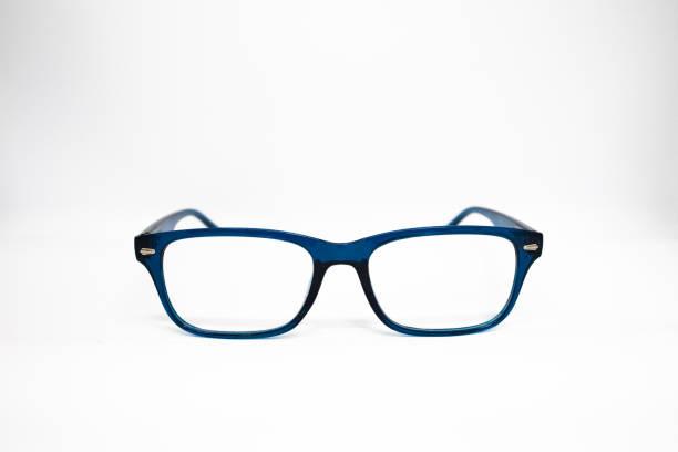 Blue Glasses isolated on white background. stock photo