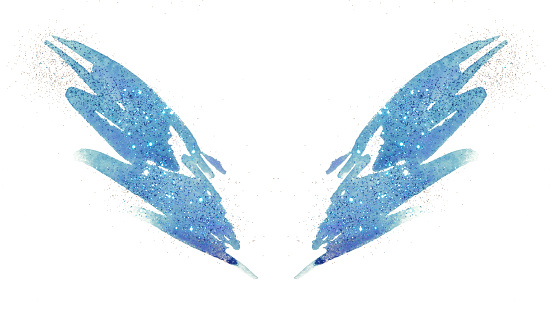 Blue glitter on abstract blue watercolor wings in vintage nostalgic colors.