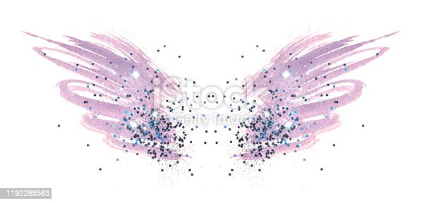 istock Blue glitter on abstract pink watercolor wings in vintage nostalgic colors on white 1192288563