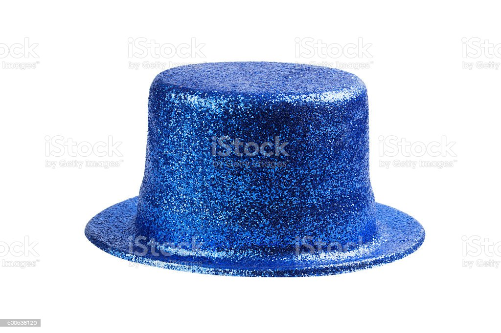 Blue glitter party hat isolated on white stock photo