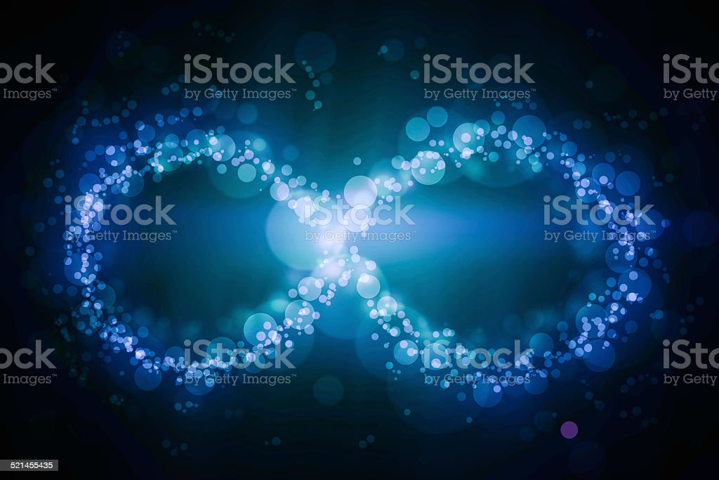 Blue glittering star dust infinity loop. Twinkling ellipse. stock photo