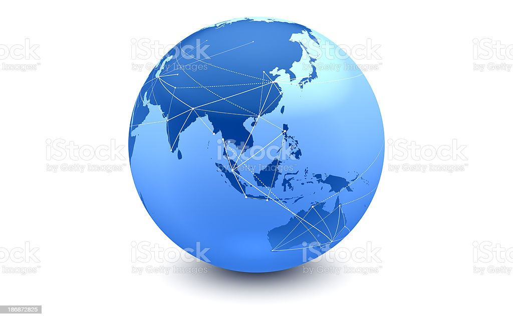 Blue Global Connections: Eastern Hemisphere royalty-free stock photo