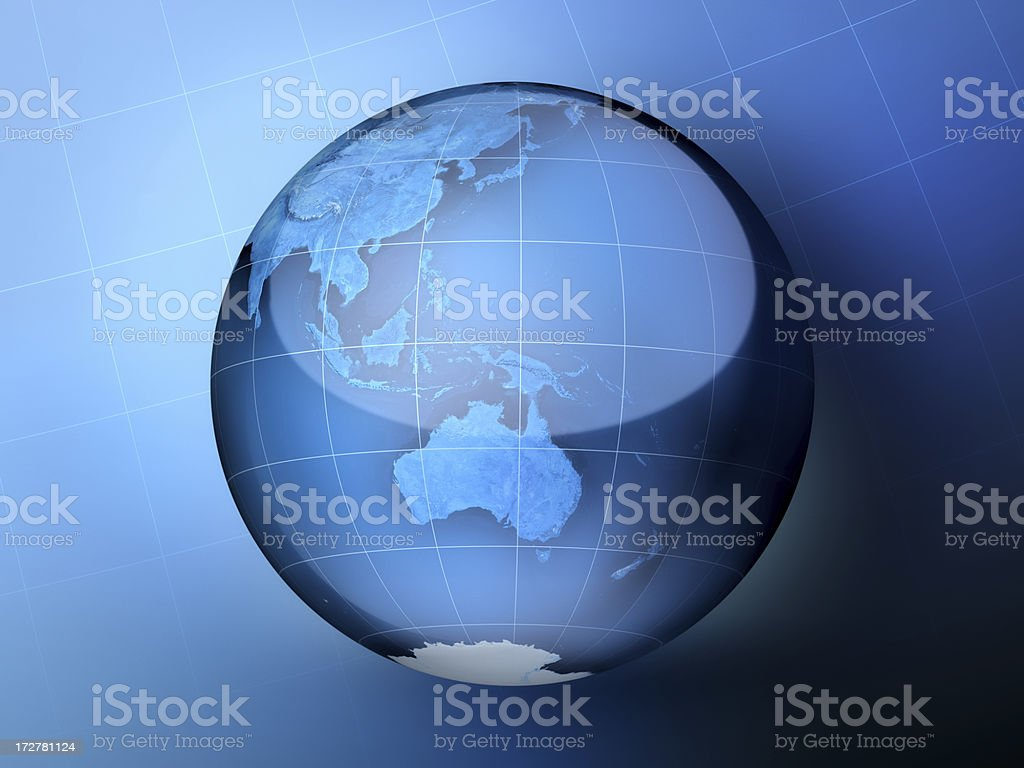 Blue Globe Australia royalty-free stock photo