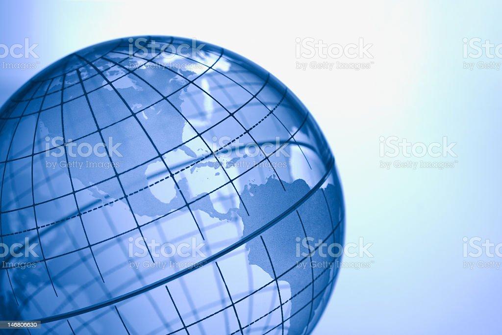 Blue globe illustration on light blue stock photo