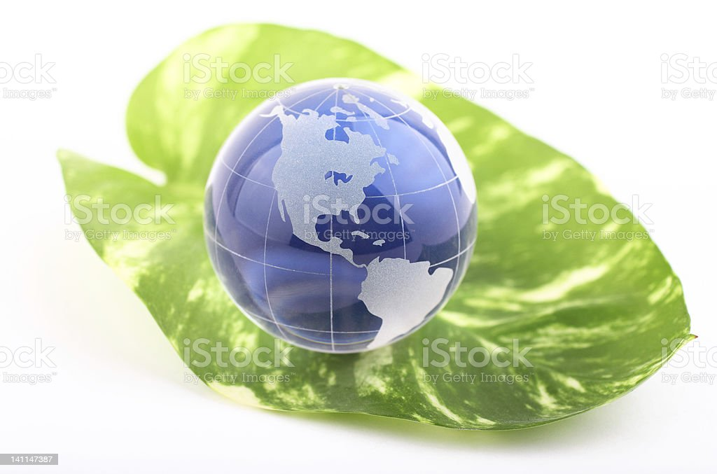 Blue globe on leaf royalty-free stock photo