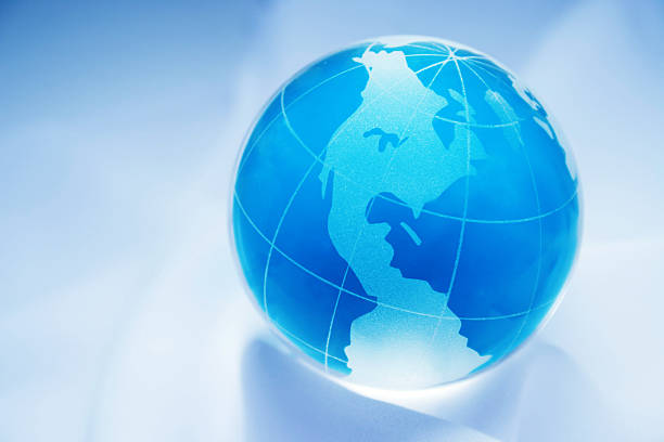 blue globe showing north south america stock photo