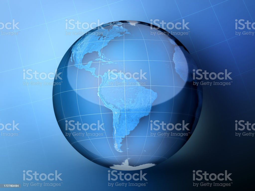 Blue Globe South America royalty-free stock photo