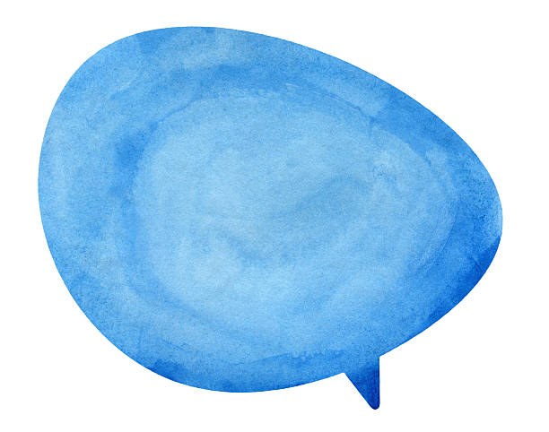 Blue Globe Speech Bubble Textured watercolour speech bubble  on real watercolour paper. No CS brushes added.More like this in my portfolio! speech bubble stock pictures, royalty-free photos & images