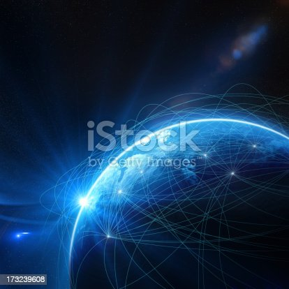 istock Blue globe surrounded by communication networks 173239608