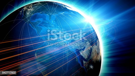 istock Blue globe surrounded by communication networks 542712502