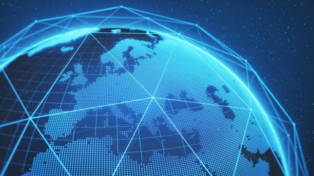 blue globe technologie hintergrund - ec karte stock-fotos und bilder