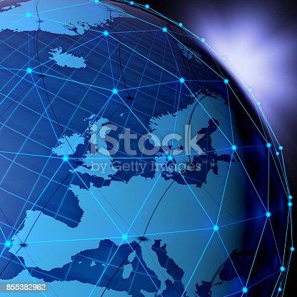 istock Blue Globe Technology of Networks Background 855382962