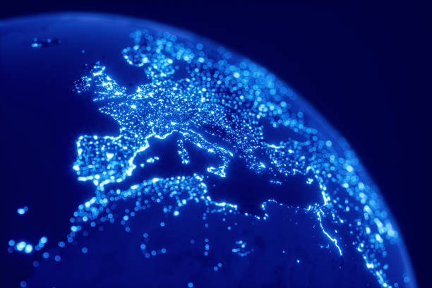 blue globe with glowing city lights and bokeh - europe map stock photos and pictures