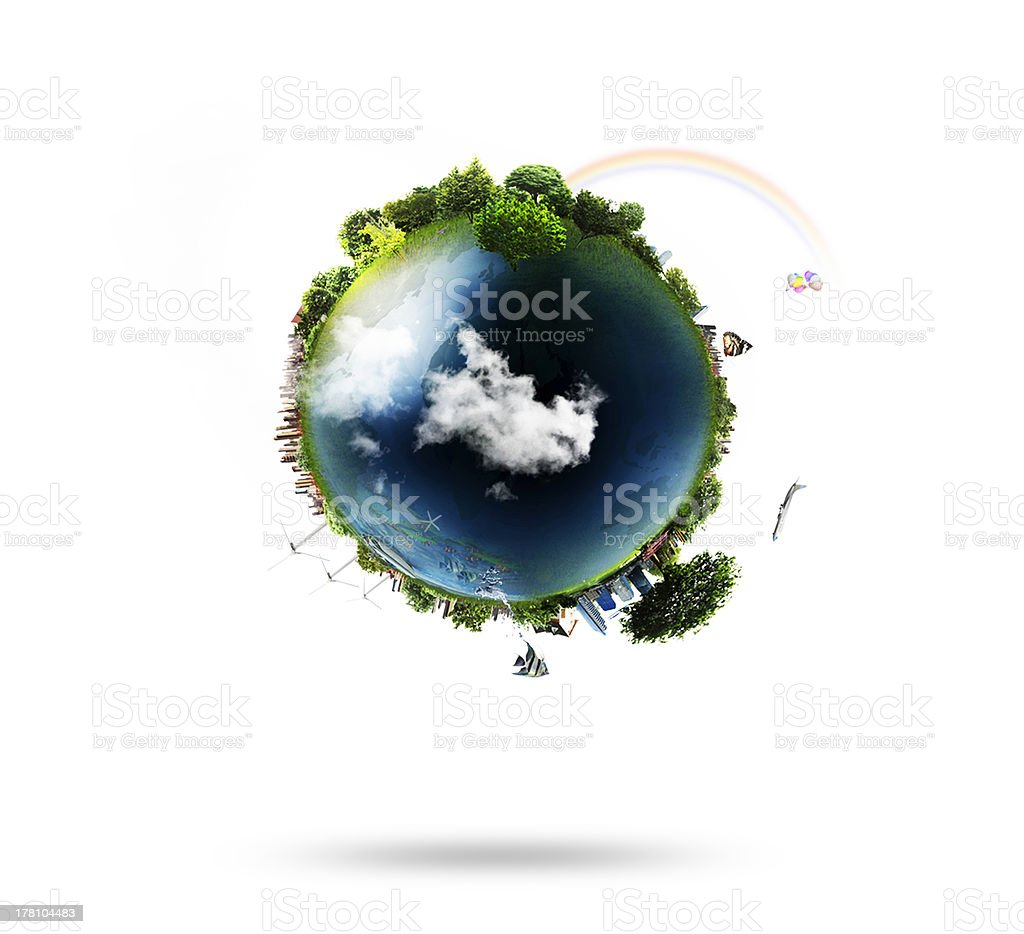 Blue globe with trees and buildings stock photo