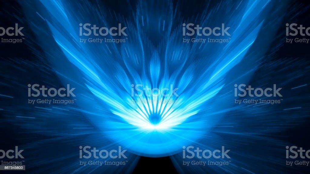 Blau leuchtende Asteroideneinschlag 8k Hintergrund abstrakten Hintergrund – Foto