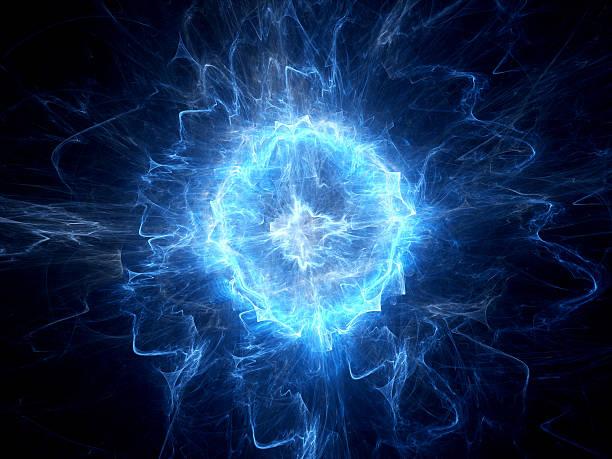 Blue glowing ball lightning stock photo