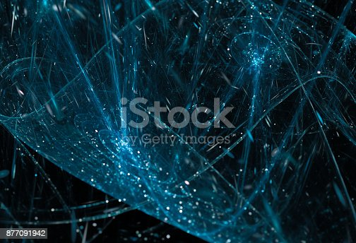 istock Blue glowing big data background 877091942