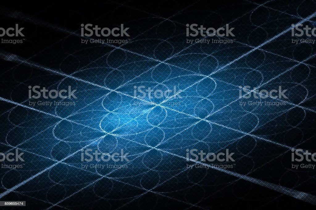 Blue glowing blockchain stream intersections grid stock photo