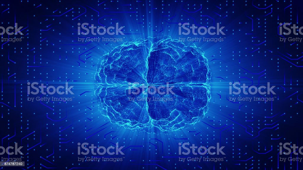 Blue glowing brain wired on neural surface or electronic conductors. Artificial intelligence (AI) and High Tech Concept. - foto stock