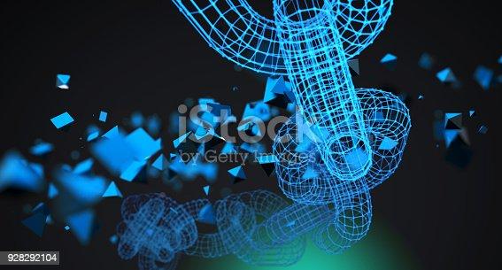 istock Blue Glowing Chains On Dark Background 928292104