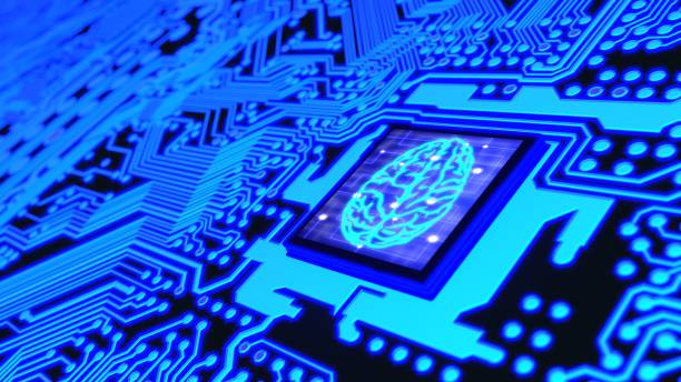 Blue glowing circuit board and a CPU with a brain symbol on top stock photo