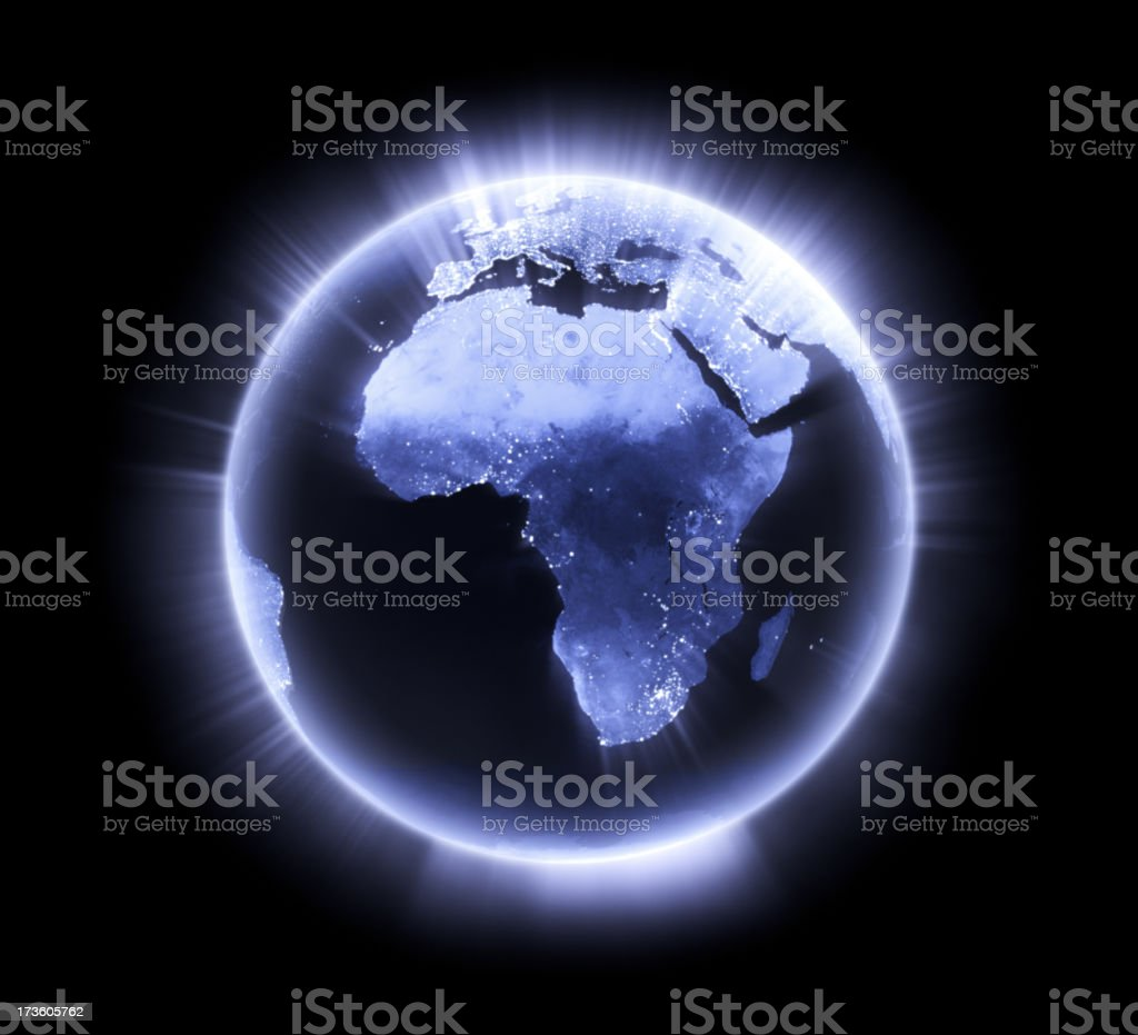 Blue glowing Earth [Africa] royalty-free stock photo