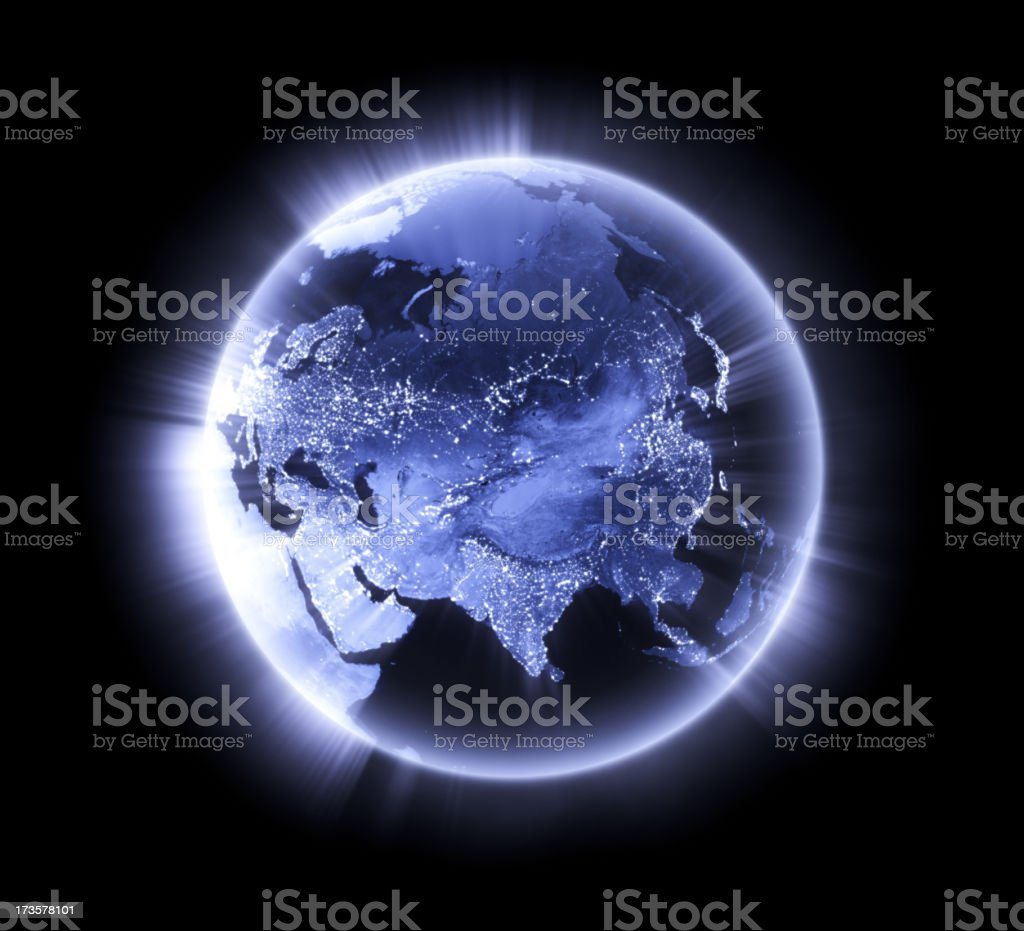 Blue glowing Earth [Asia] royalty-free stock photo