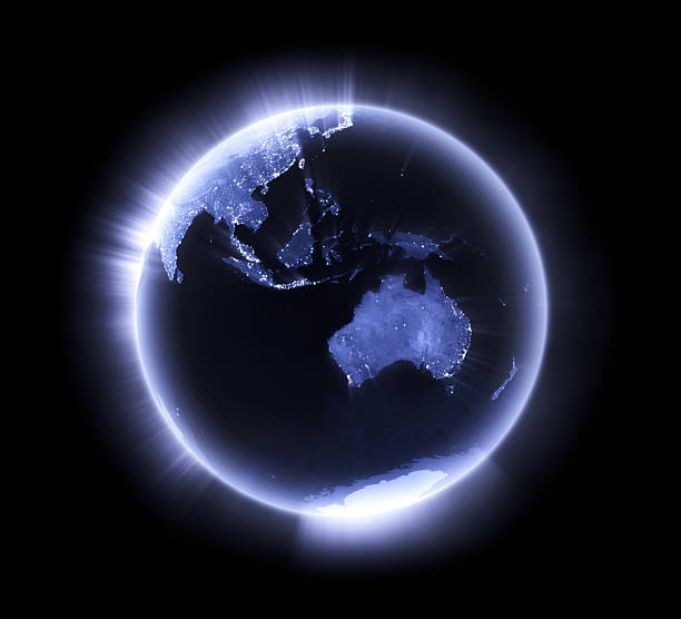 Blue glowing Earth [Australasia] stock photo