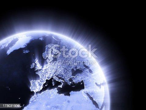 istock Blue glowing Earth crop [Europe] 173031936