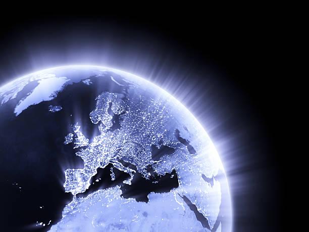 Blue glowing Earth crop [Europe] stock photo