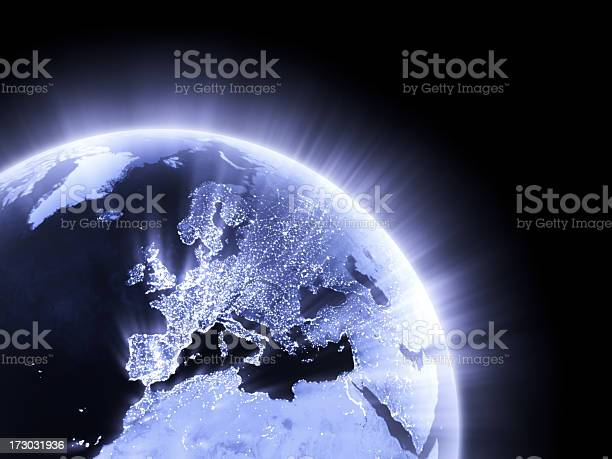 Blue Glowing Earth Crop Europe Stock Photo - Download Image Now