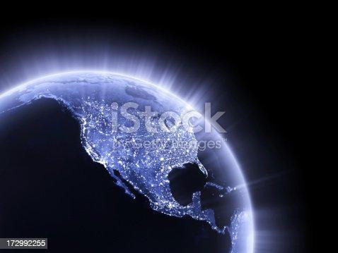 istock Blue glowing Earth crop [USA] 172992255