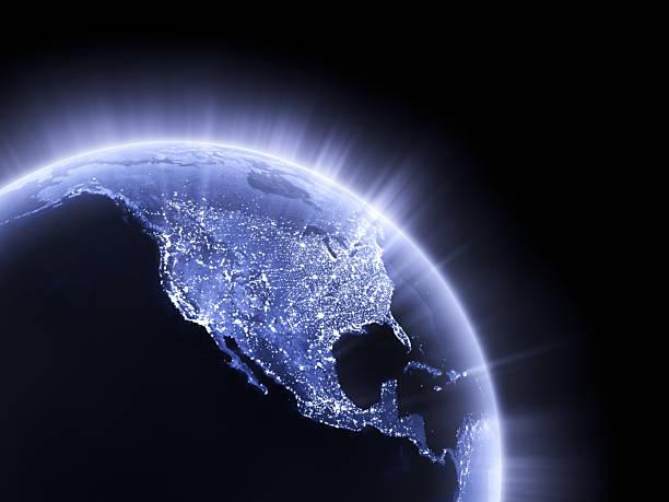 Blue glowing Earth crop [USA] stock photo