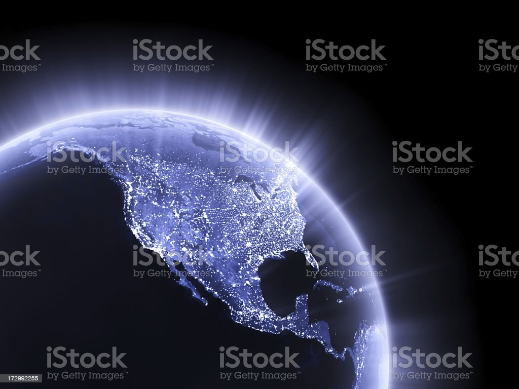 Blue glowing Earth crop [USA] stock photo