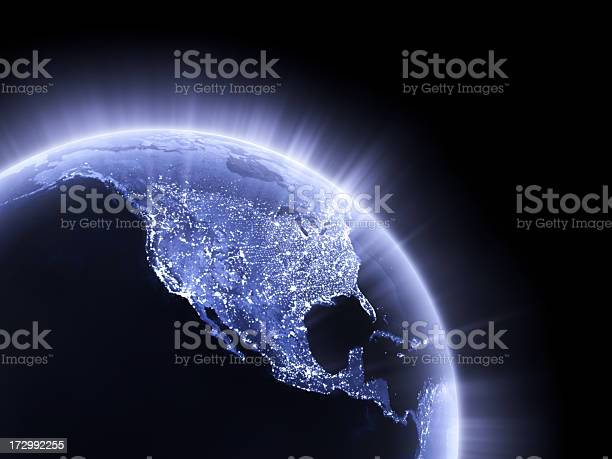 Blue Glowing Earth Crop Usa Stock Photo - Download Image Now