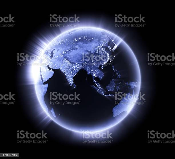 Blue Glowing Earth Lower Asia Stock Photo - Download Image Now