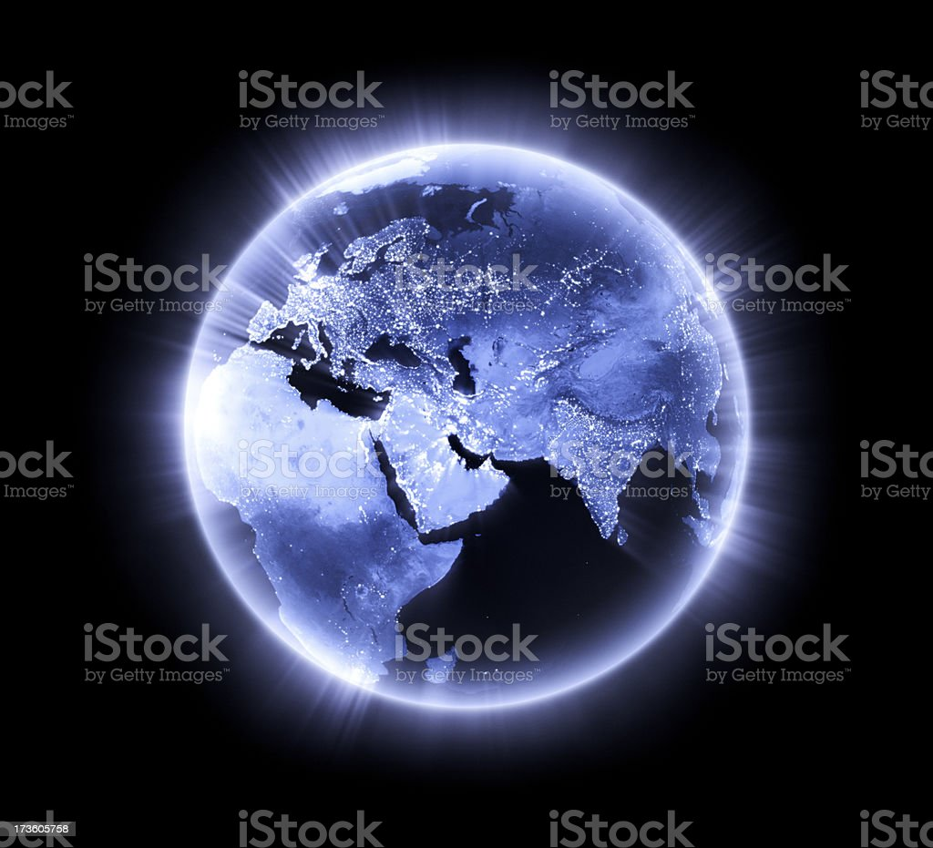 Blue glowing Earth [Middle East] royalty-free stock photo