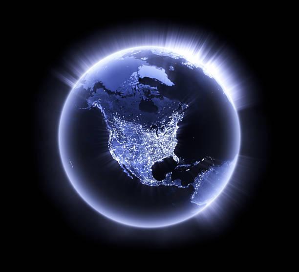 Blue glowing Earth [North America] stock photo