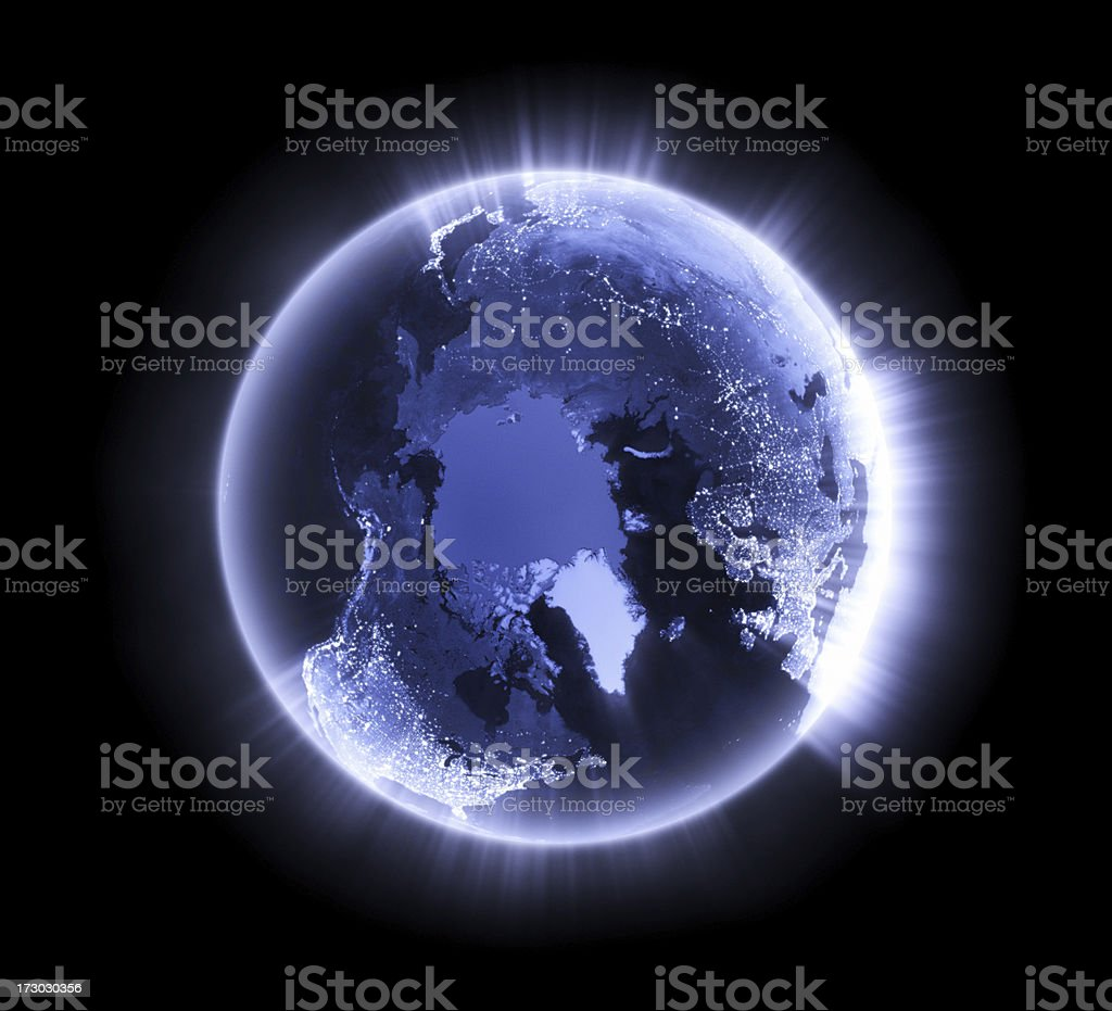 Blue glowing Earth [North Pole] royalty-free stock photo