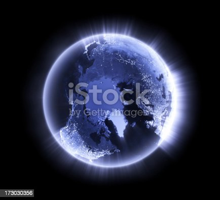 Royalty free 3d rendering of a glowing earth. Image is big enough for you to choose the cropping. The Arctic prominent.