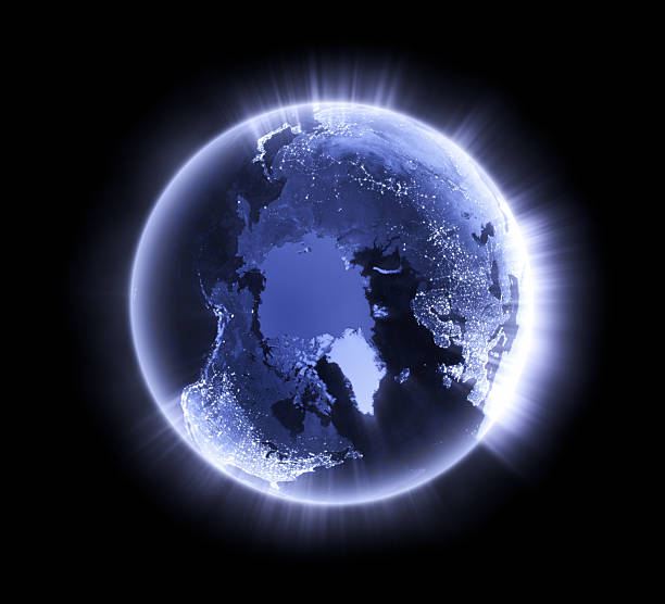 Blue glowing Earth [North Pole] stock photo