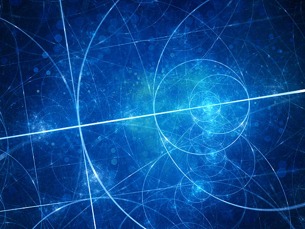 blue glowing euclid circles - physics stock photos and pictures