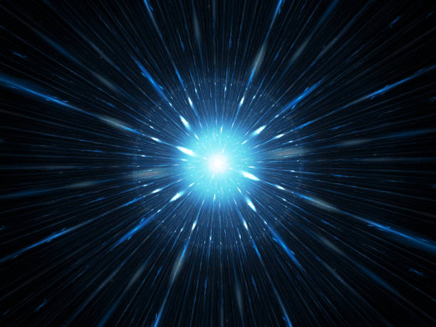 Blue glowing explosion in space, starburst stock photo